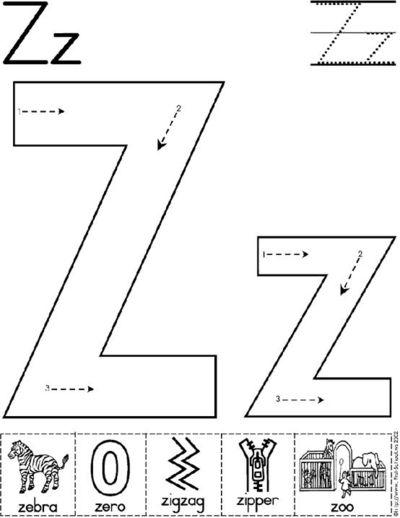 Letter Z Worksheet   Preschool Items