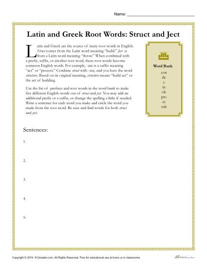 Greek And Latin Root Words Worksheets