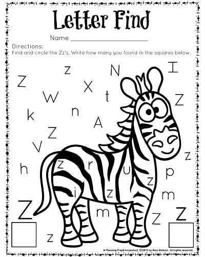 Letter Z Printables