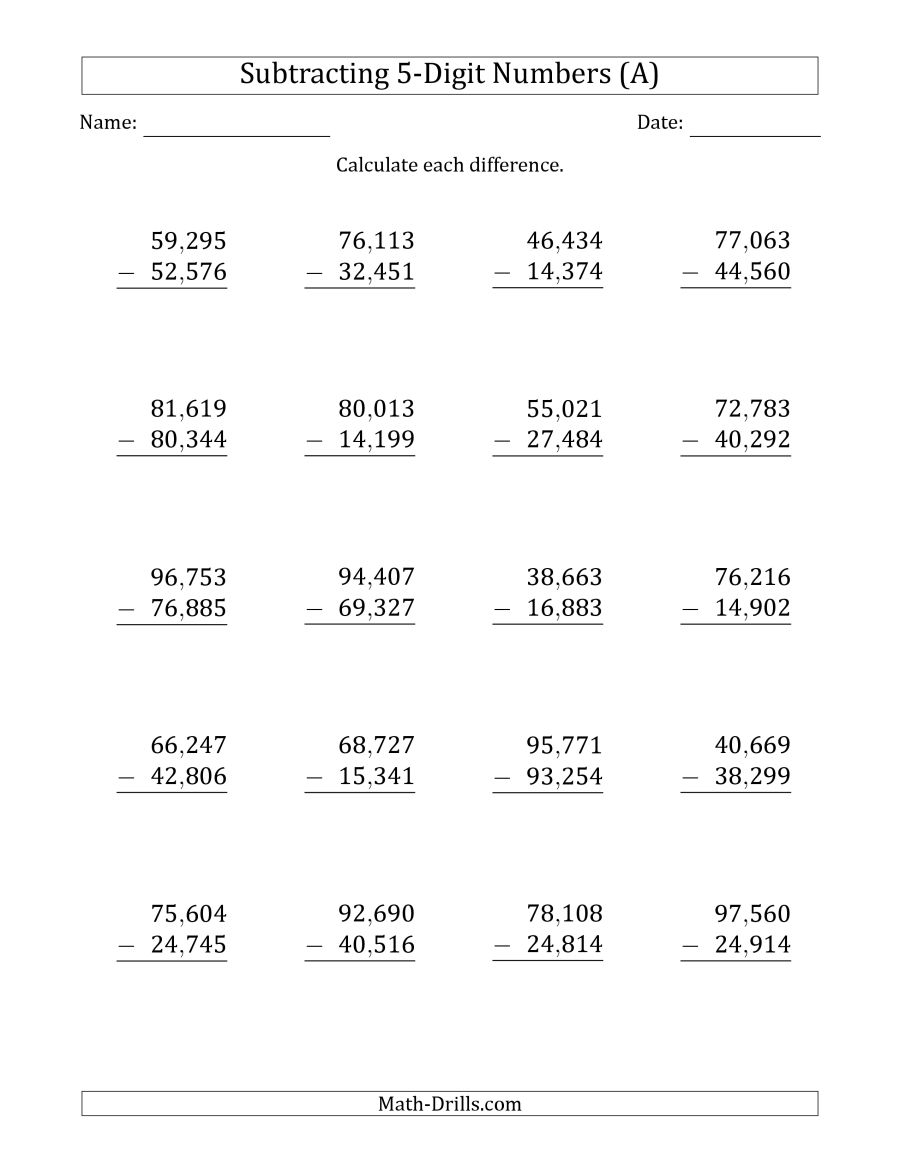 Long Subtraction Worksheets  1319606