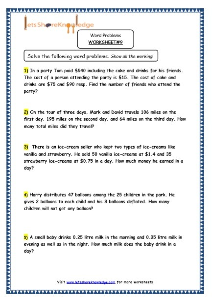 Grade 5 Maths Resources (multiple Step Word Problems Printable
