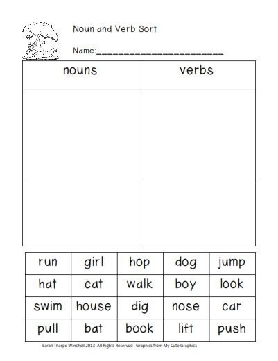 Grade 1  Sample Worksheets On Nouns , Verbs And Adjectives