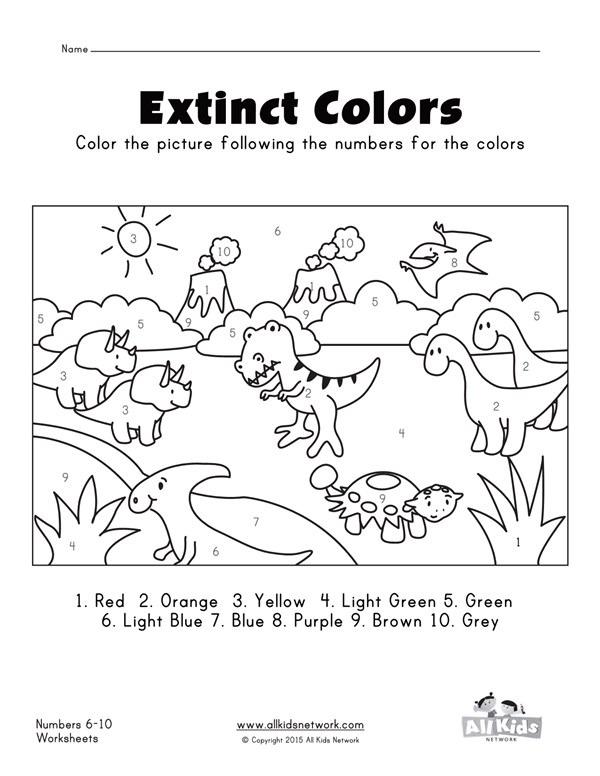 Dinosaurs Color By Numbers 1