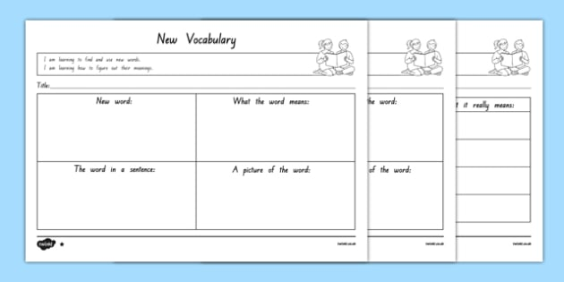 New Vocabulary Differentiated Worksheet   Activity Sheets