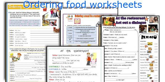 Ordering Food Worksheets