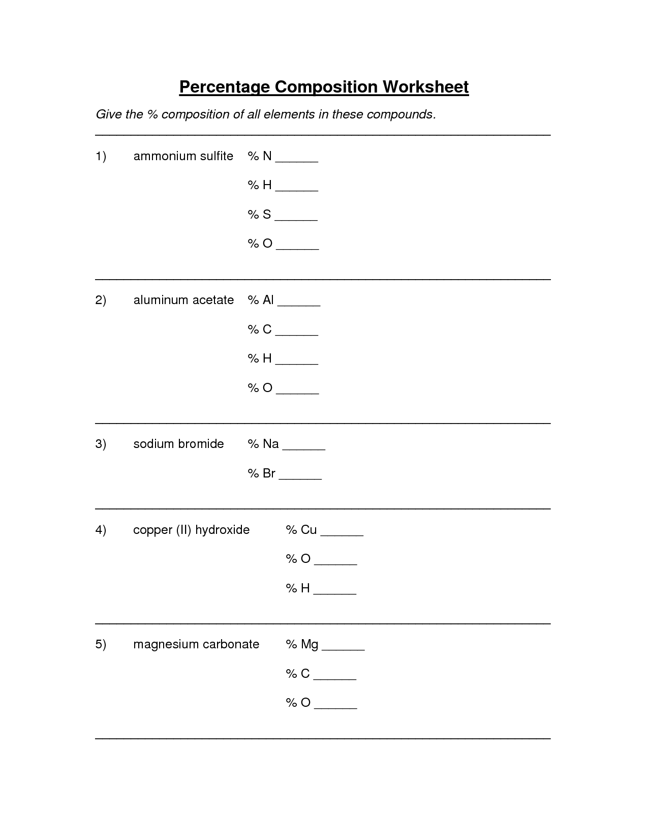 Percent Composition Worksheet Answer Key