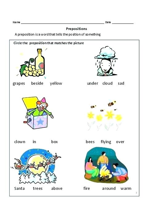 Preposition Worksheet Common Prepositions Prepositional Phrases