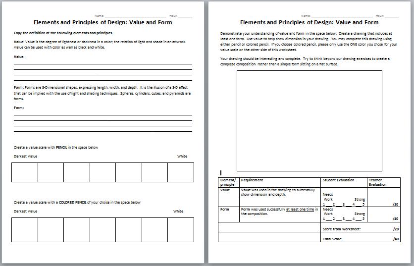 Principles Of Art Worksheet Worksheets For All