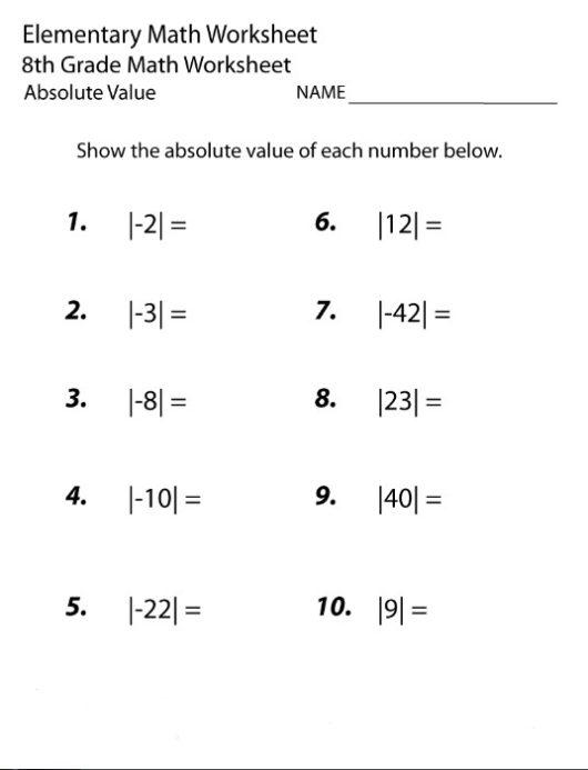 8th Grade Homework Sheets
