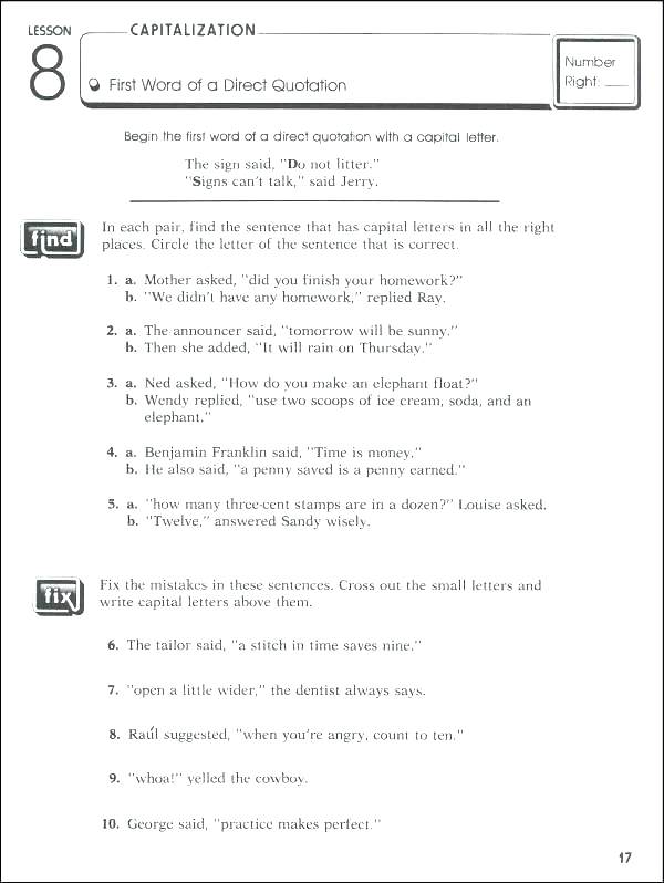 Capitalization And Punctuation Worksheets Grade 6 Punctuation