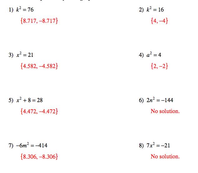 Quadratic Equation Worksheet With Answers  Equations