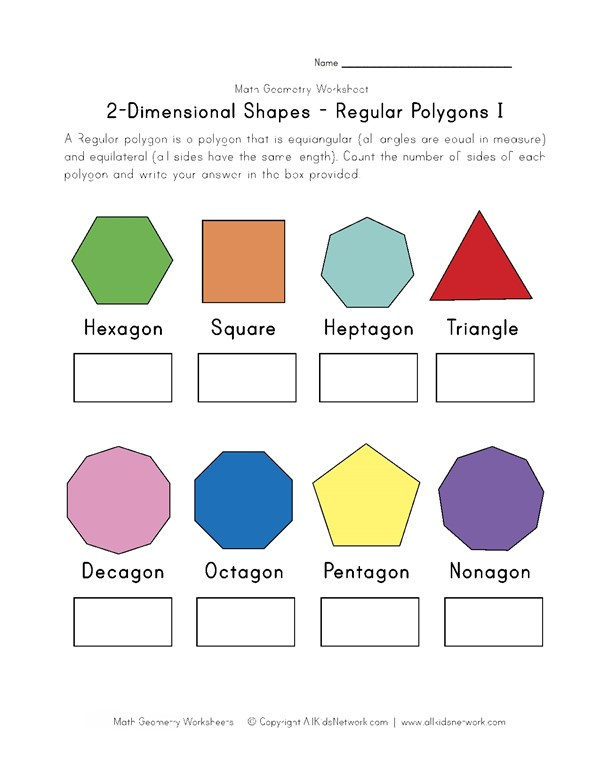 Regular Polygons Worksheet 1