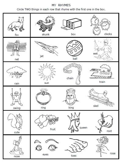 Rhyming Words For Kindergarten Worksheets Worksheets For All