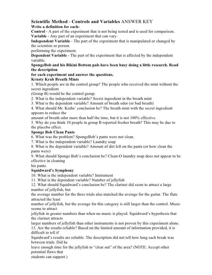 Independent And Dependent Variables Worksheet Spongebob