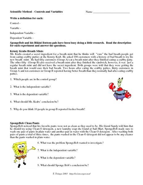 Spongebob Variables Worksheet