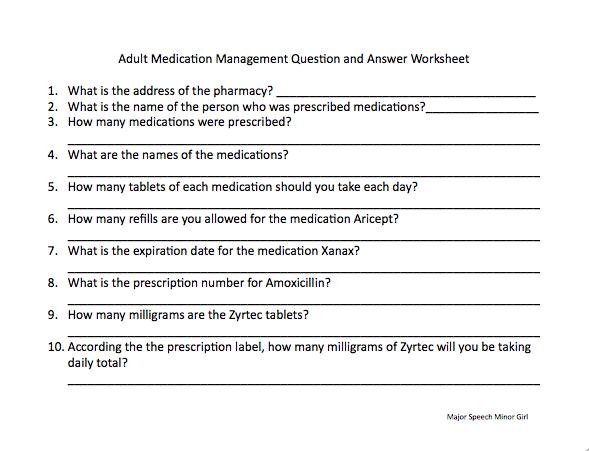 Speechie Freebies  Medication Management Worksheet