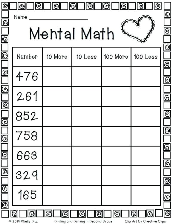Second Math Worksheets Second Grade Mental Math On The Word Here