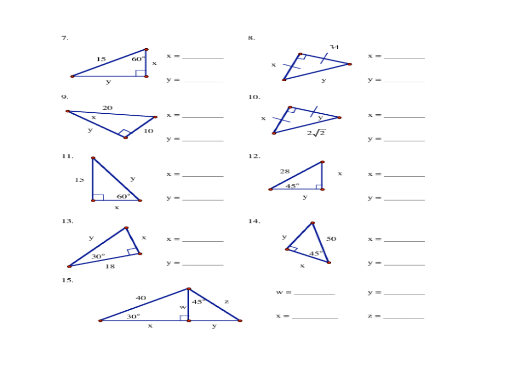 Special Right Triangles Practice - Thereset
