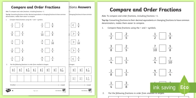 Year 6 Order Fractions Worksheet   Activity Sheet