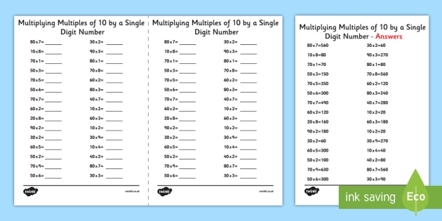 Multiplying Multiples Of 10 By 1 Digit Numbers A5 Worksheet