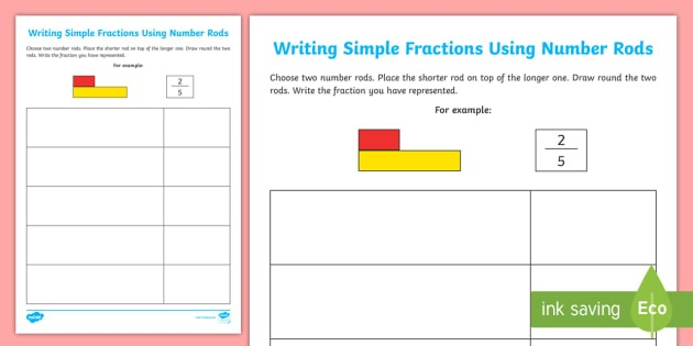 Writing Simple Fractions Using Number Rods Worksheet   Activity
