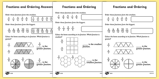Fractions And Ordering Differentiated Activity Sheet