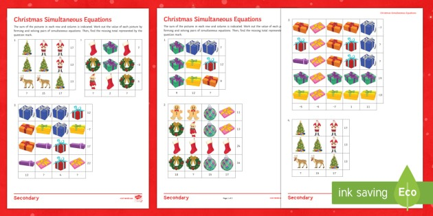 Christmas Algebra Differentiated Worksheet   Activity Sheets