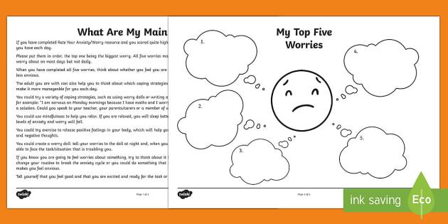 My Main Worries Worksheet   Activity Sheet