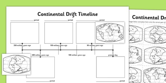 Continental Drift Timeline Worksheet   Activity Sheet