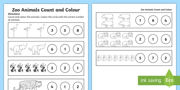Zoo Animals Counting Worksheet   Activity Sheet