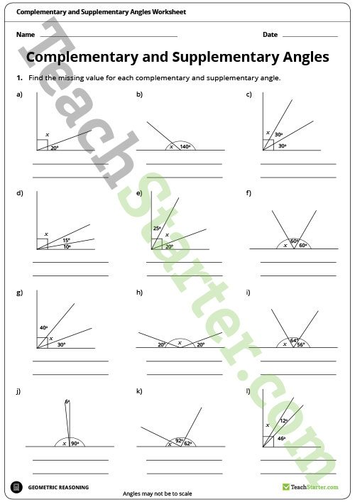 Complementary And Supplementary Angles Worksheet Teaching Resource