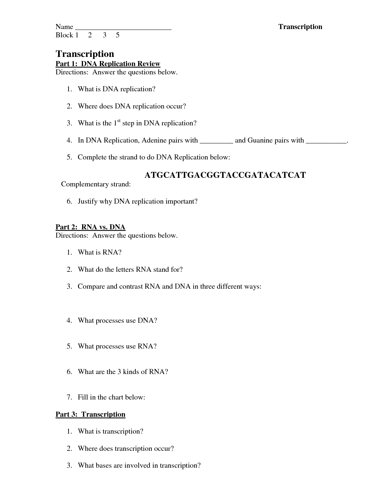 Transcription Worksheet Answers
