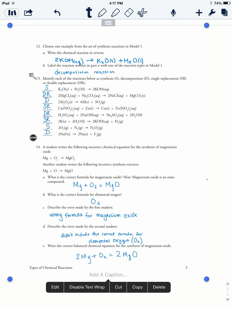 Printables Of Types Of Chemical Reactions Worksheet Answer Key