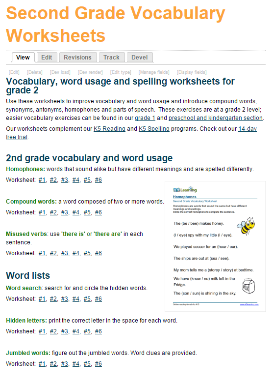 New Printable Vocabulary Worksheets