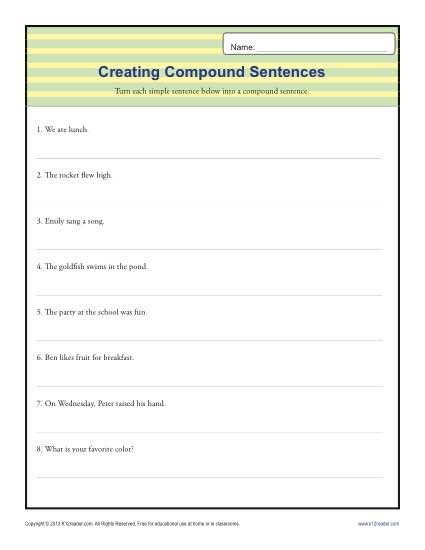 Compund Sentence Worksheet