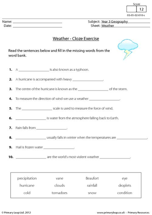 Weather Homework Ks1