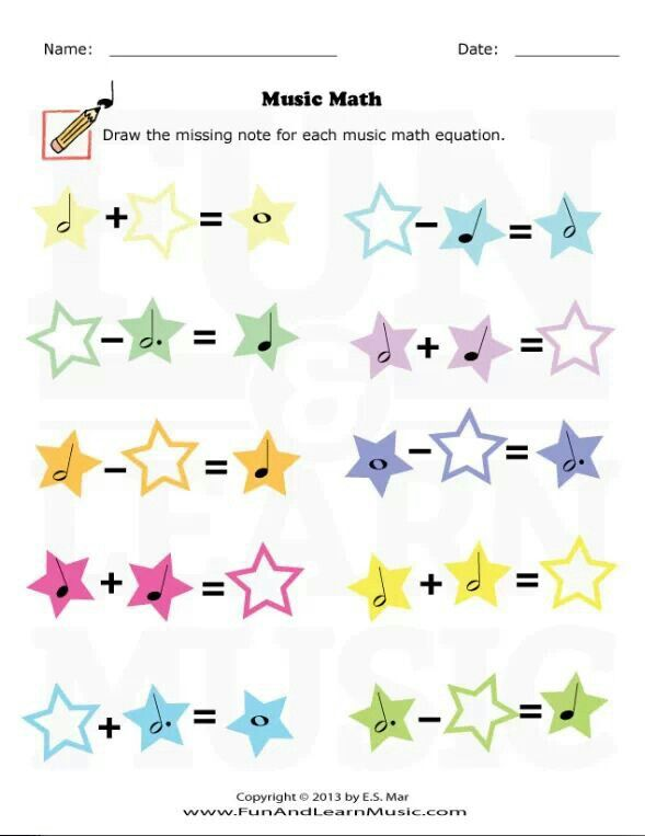 Fun Music Math Worksheet For Beginners