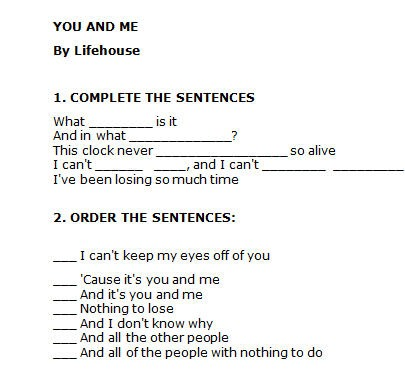 Song Worksheet  You And Me By Lifehouse