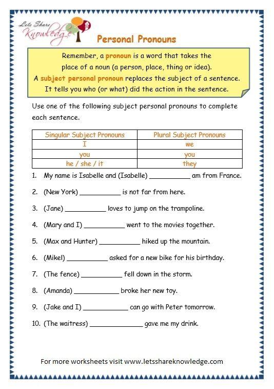 Grade 3 Grammar Topic 10  Personal Pronouns Worksheets