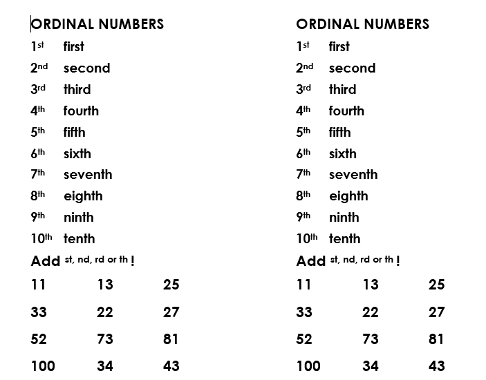 56 Free Ordinal Numbers Worksheets