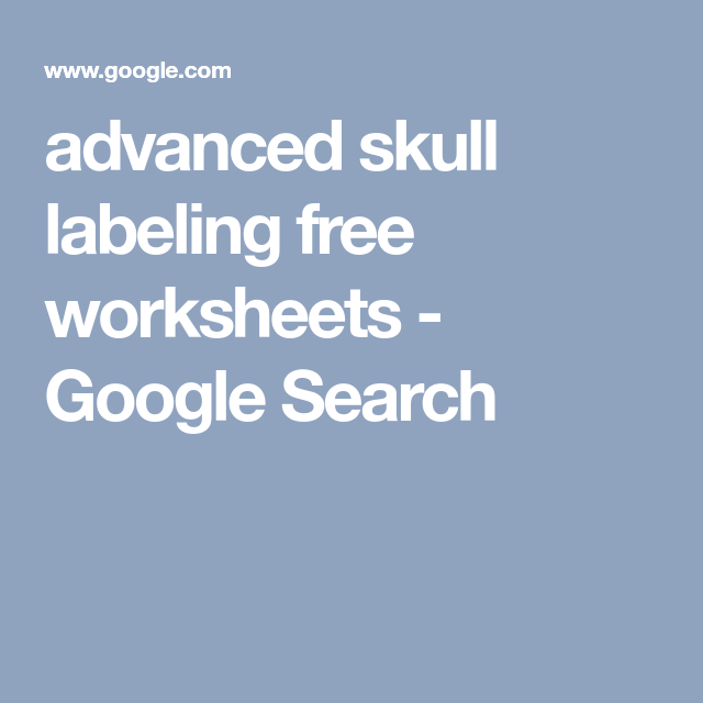 Advanced Skull Labeling Free Worksheets