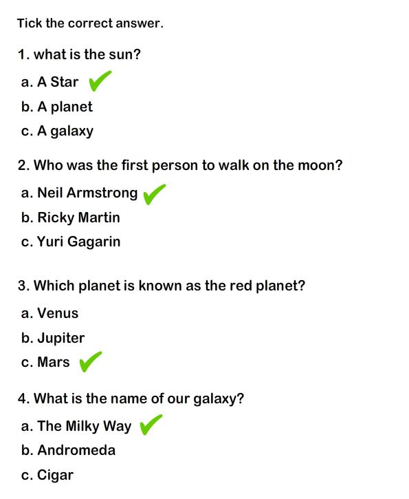 Solar System Worksheet 3
