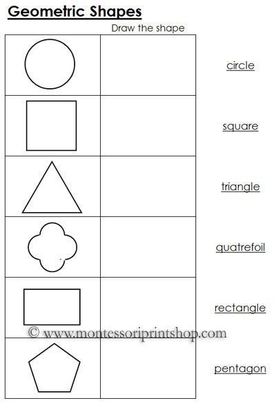 Worksheets For Geometric Shapes  Black Line Masters For 12