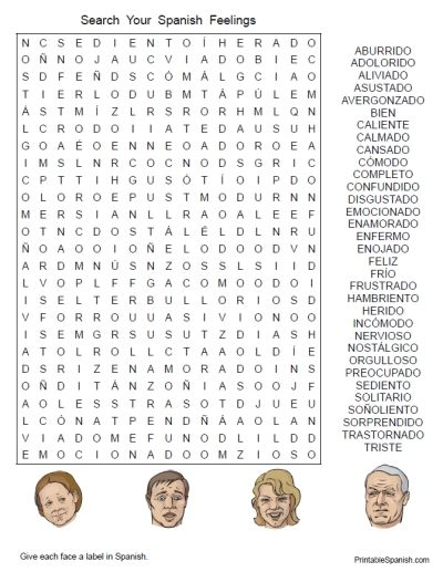Printable Spanish Freebie Of The Day  Search Your Spanish Feelings