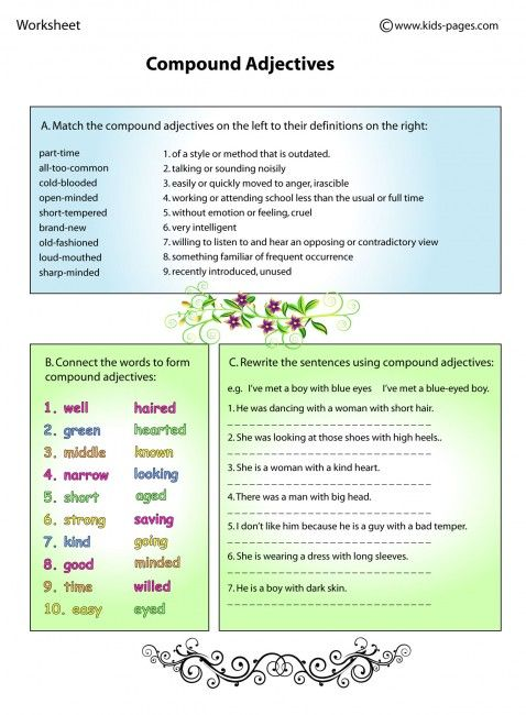 Compound Adjectives Worksheets