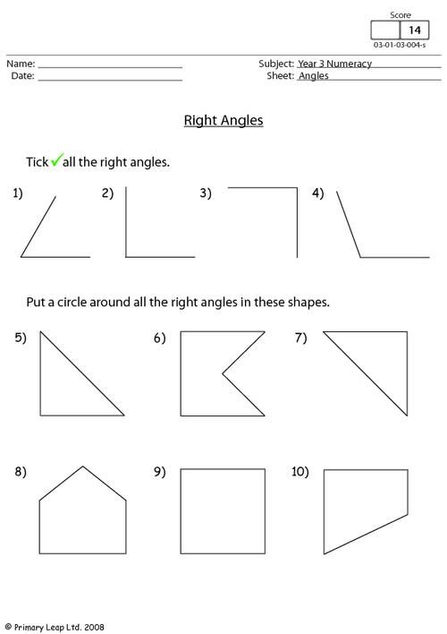 Image Result For Right Angles Worksheets