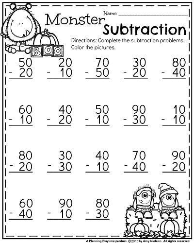 First Grade Worksheets For October