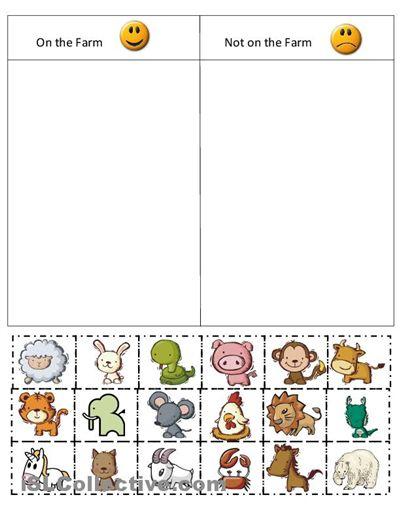 Kindergarten Farm Cut And Paste Worksheets