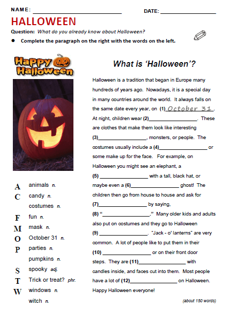 Halloween Worksheets For Esl Beginners