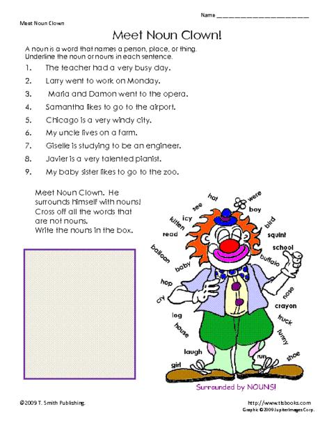 Noun Clown Worksheet